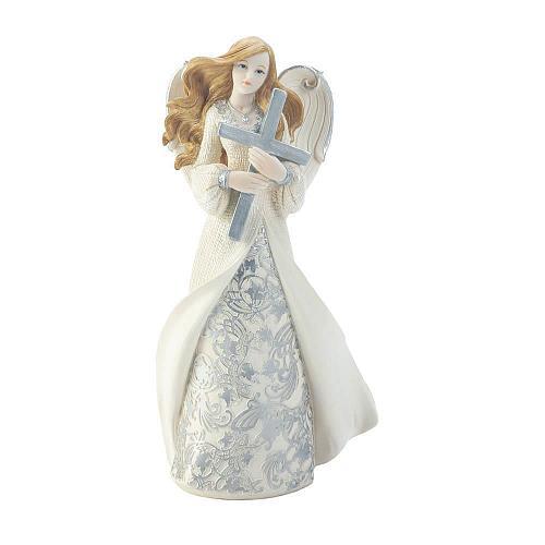 *18461U - Hugging Cross Angel Figurine Statue