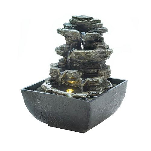*18474U - Tiered Rock Formation Tabletop Tranquility Water Fountain w/LED Light