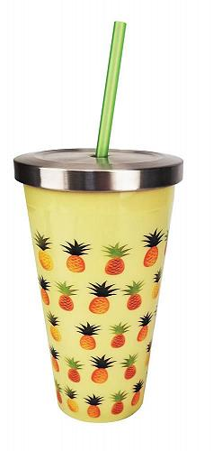 :10851U - Pineapples On Yellow Stainless Steel 16oz Cup w/ Straw