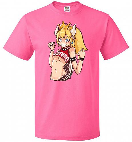 Bowsette Unisex T-Shirt Pop Culture Graphic Tee (XL/Neon Pink) Humor Funny Nerdy Geek