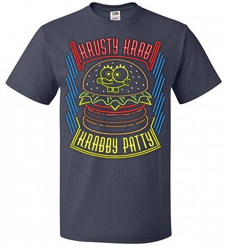 Krusty Krab Krabby Patty Adult Unisex T-Shirt Pop Culture Graphic Tee (L/J Navy) Humo