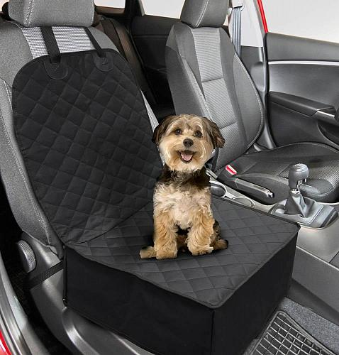 :10827U - 2 In 1 Convertible Front Seat Black Pet Cover Cushion