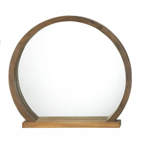 """*18522U - Round Wooden 16"""" Mirror w/ Shelf"""