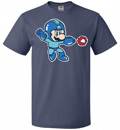 Mega Mario Unisex T-Shirt Pop Culture Graphic Tee (6XL/Denim) Humor Funny Nerdy Geeky