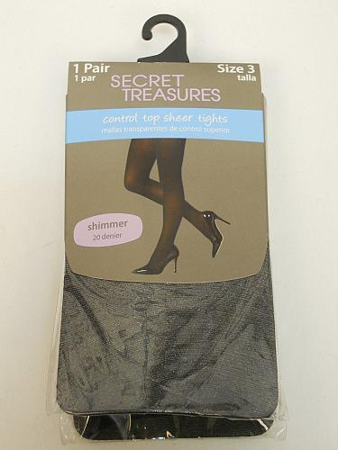 Women Sheer Tights PLUS SIZE 3 Solid Black Control Top SECRET TREASURES ST7BE