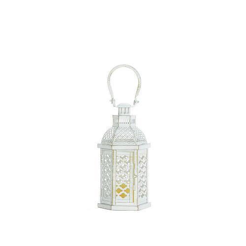 "*18354U - Distressed White 10"" Moroccan Glamour Pillar Candle Lantern"