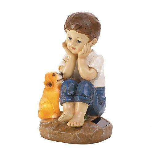 "*18057U - My Pup And I Garden Figurine 9 1/2"" Solar Light Up Statue"