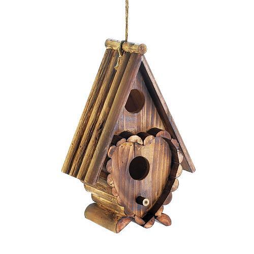 *18410U - Heart Shape Brown Fir Wood Birdhouse