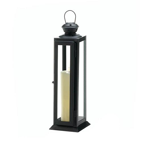 "*18088U - Sleek & Lean 12"" Star Cutout Black Metal Pillar Candle Lantern"