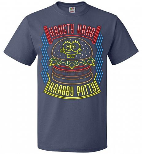 Krusty Krab Krabby Patty Adult Unisex T-Shirt Pop Culture Graphic Tee (XL/Denim) Humo