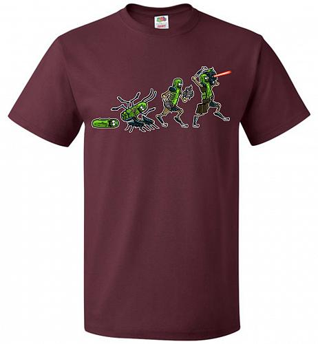 Pickle Rick Evolution Unisex T-Shirt Pop Culture Graphic Tee (3XL/Maroon) Humor Funny