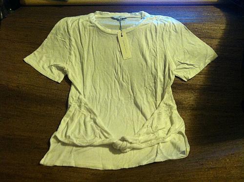 Tie Front White Tee Women`s XL Short Sleeve