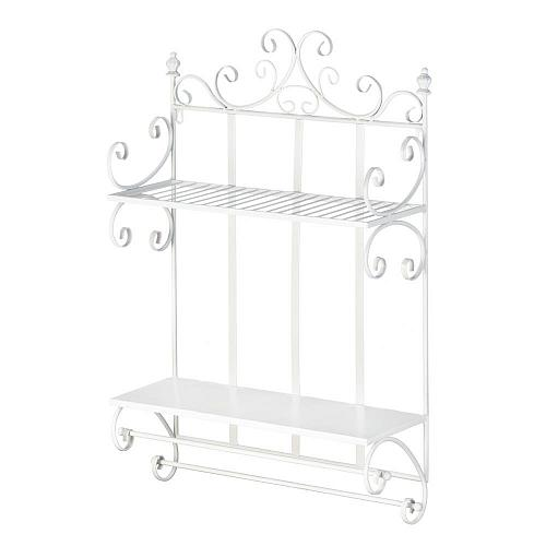 *18383U - Regal White Iron 2 Tier Wall Shelf Towel Bar