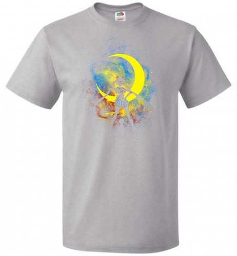 Moon Art Unisex T-Shirt Pop Culture Graphic Tee (5XL/Silver) Humor Funny Nerdy Geeky