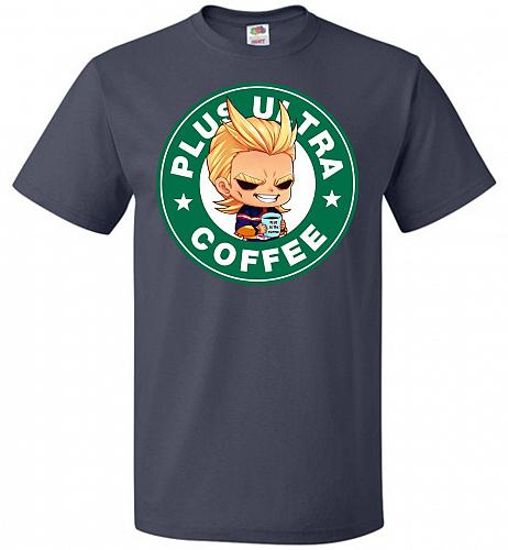 Plus Ultra Coffee Unisex T-Shirt Pop Culture Graphic Tee (2XL/J Navy) Humor Funny Ner