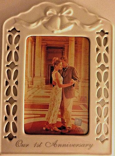 OUR FIRST ANNIVERSARY CERAMIC PHOTO/PICTURE FRAME - 4x6 PHOTO - RUSS BERRIE CO