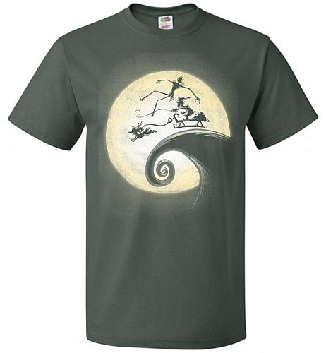 Nightmare Before Grinchmas Unisex T-Shirt Pop Culture Graphic Tee (L/Forest Green) Hu