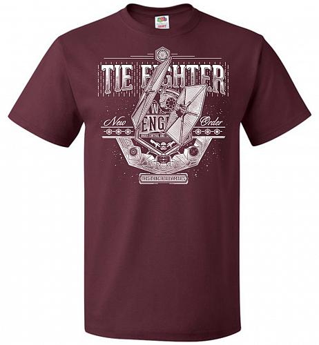 New Order Tie Fighter Unisex T-Shirt Pop Culture Graphic Tee (2XL/Maroon) Humor Funny