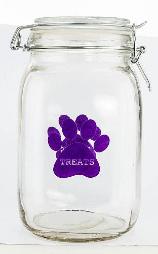 :10946U - Purple Paw Pet Treat Clear Canister