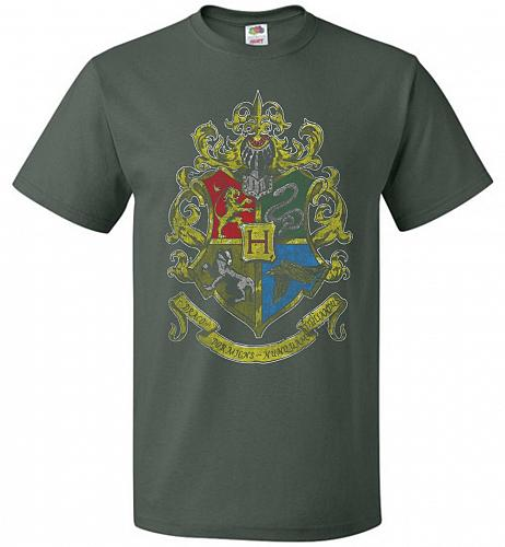 Hogwart's Crest Adult Unisex T-Shirt Pop Culture Graphic Tee (2XL/Forest Green) Humor
