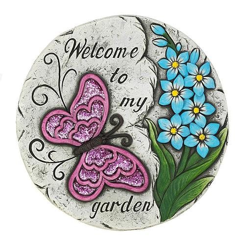"""*18530U - Pink Butterfly Welcome Garden 10"""" Stepping Stone"""