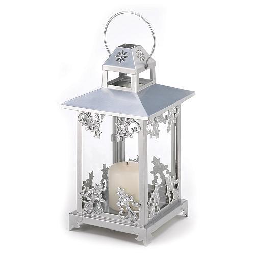 39891U - Silvertone Floral Scrollwork Iron Candle Lantern Glass Panels