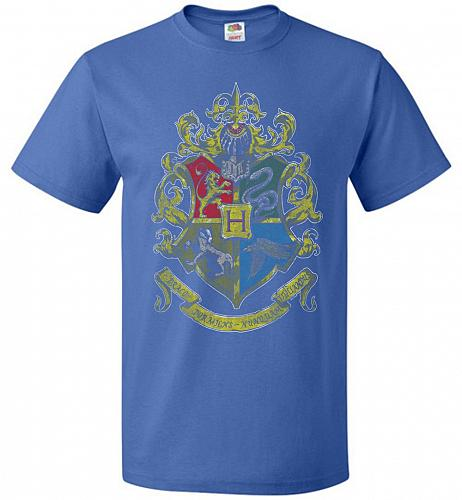 Hogwart's Crest Adult Unisex T-Shirt Pop Culture Graphic Tee (L/Royal) Humor Funny Ne