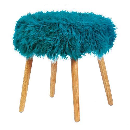 *18181U - Turquoise Faux Fur Foot Stool w/Wood Legs