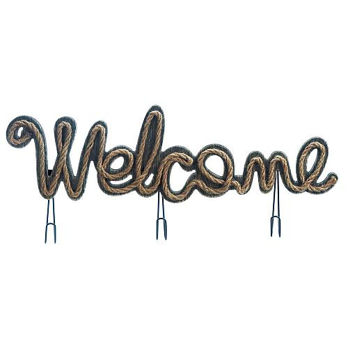 *18177U - Welcome Sign Rope & Wood Wall Plaque w/3 Hooks