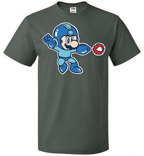Mega Mario Unisex T-Shirt Pop Culture Graphic Tee (XL/Forest Green) Humor Funny Nerdy