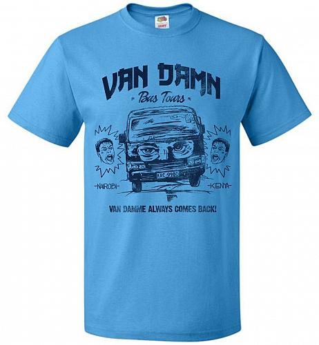 Van Damn Tour Bus Adult Unisex T-Shirt Pop Culture Graphic Tee (6XL/Pacific Blue) Hum