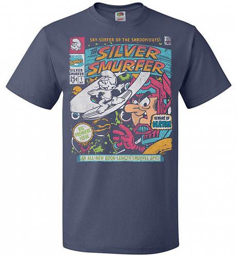 Silver Smurfer Unisex T-Shirt Pop Culture Graphic Tee (4XL/Denim) Humor Funny Nerdy G