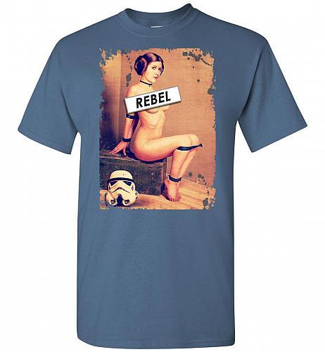 Princess Leia Rebel Unisex T-Shirt Pop Culture Graphic Tee (L/Indigo Blue) Humor Funn