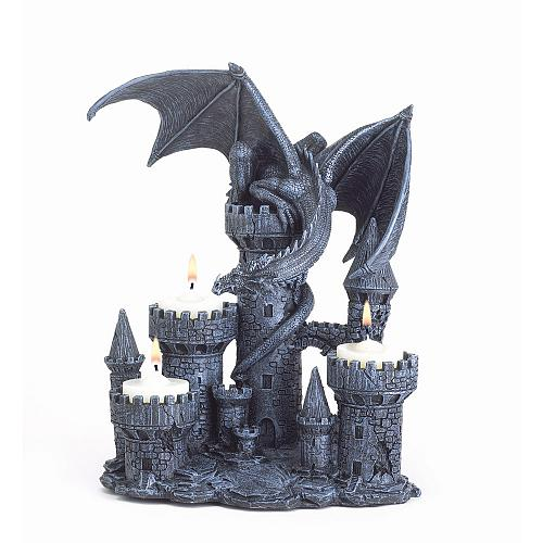 37960U - Dragon On Castle Figurine Polyresin Tea Light Candle Holder