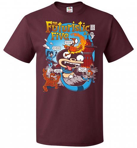 Futuristic Five Unisex T-Shirt Pop Culture Graphic Tee (5XL/Maroon) Humor Funny Nerdy