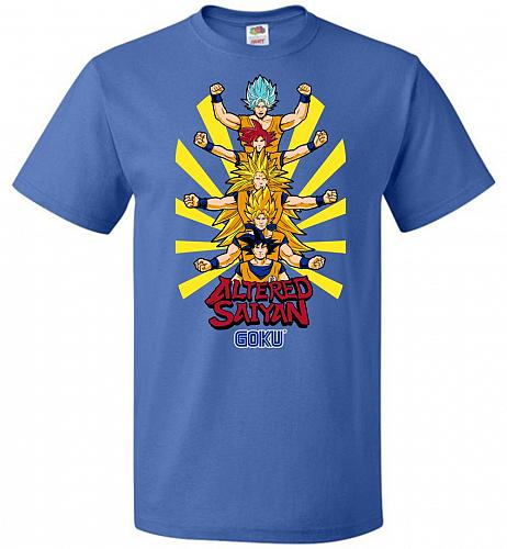 Altered Saiyan Unisex T-Shirt Pop Culture Graphic Tee (L/Royal) Humor Funny Nerdy Gee