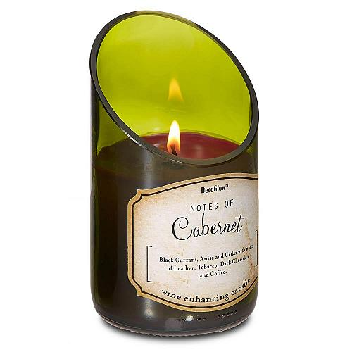 :10625U - Wine Bottle Green Glass Cabernet Scented Soy Blend Wax Candle