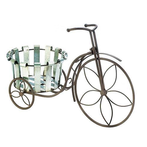 *18487U - Galvanized Bucket Tricycle Bike Plant Stand Planter