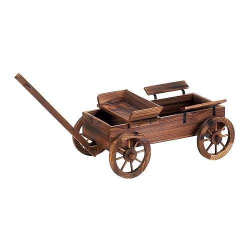 *18433U - Old World Wagon Fir Wood Planter Yard Art