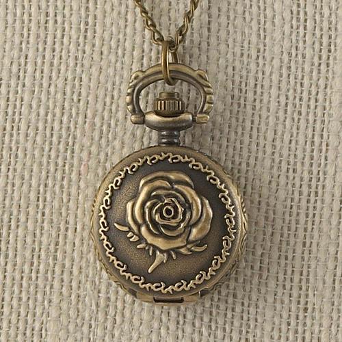 :11015U - Bronze Rose Mini Necklace Watch