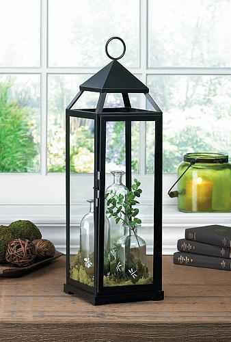 *16910U - Extra Tall Black Contemporary Lantern