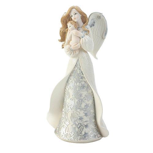 *18460U - Angel Cradling Baby Figurine Statue