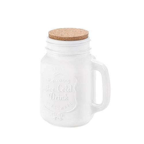 *17456U - White Mason Jar With Cork