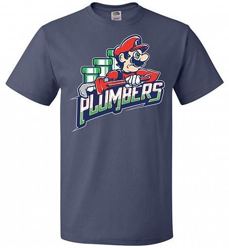 Plumbers Unisex T-Shirt Pop Culture Graphic Tee (3XL/Denim) Humor Funny Nerdy Geeky S