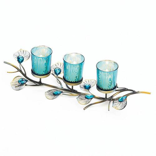 *18046U - Peacock Inspired Tabletop 3 Turquoise Cup Candle Trio