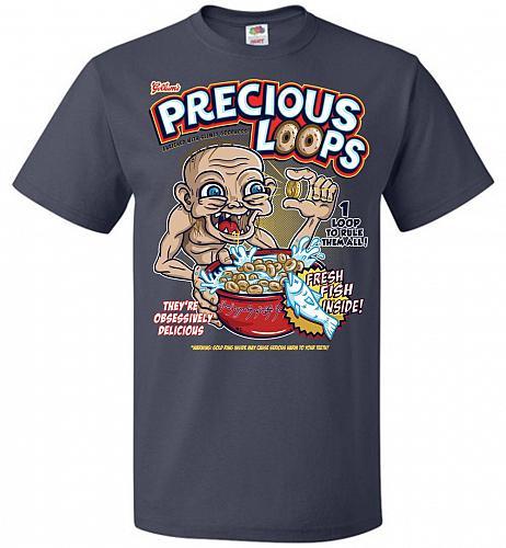 Gollum's Precious Loops Unisex T-Shirt Pop Culture Graphic Tee (4XL/J Navy) Humor Fun