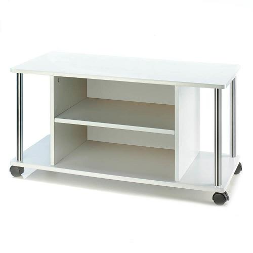 "*18324U - TV Television 32"" Stand White Wood w/Wheels 2 Shelves"