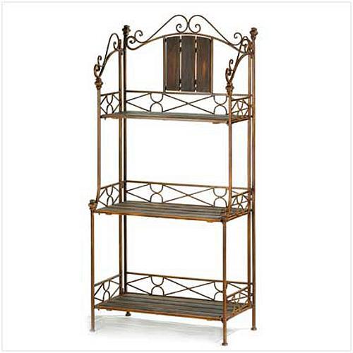 12516U - Rustic Baker's Rack Ornate Metal Scrollwork Frame 3 Wood Shelves