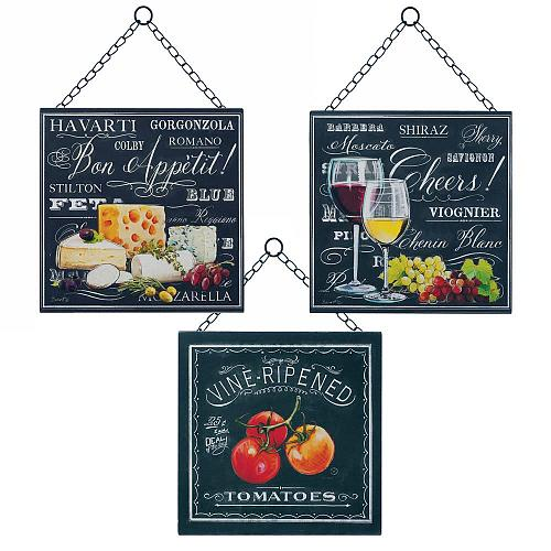 *18171U - Bon Appetite 9x9 Wall Plaque Iron Decor Set Of 3