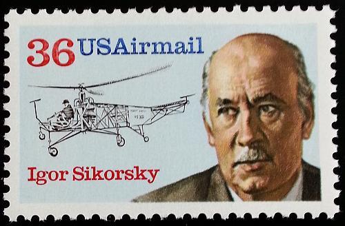 1988 36c Igor Sikorsky, Russian American Aviation Pioneer Scott C119 Mint VF NH